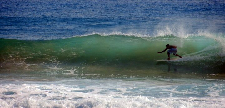 surfing at Encuentro beach